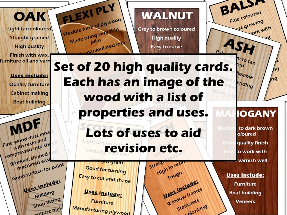 Wood Types and Properties Cards
