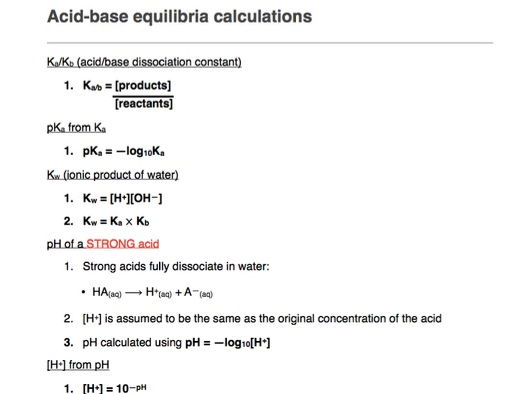 A-Level CHEMISTRY Acid-base Calculations Guide