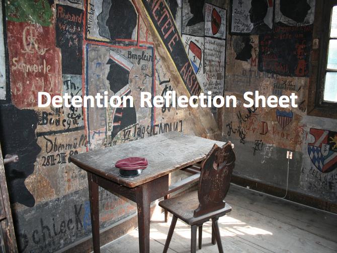 Detention Reflection Sheet