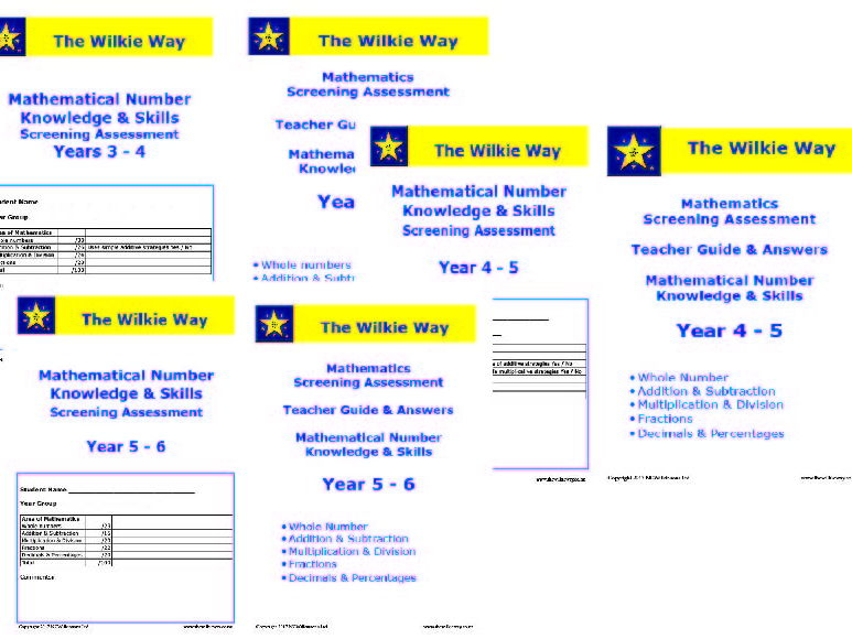 Assessment Screens For years 3 - 6