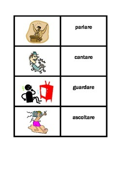 Action verbs in Italian Concentration games