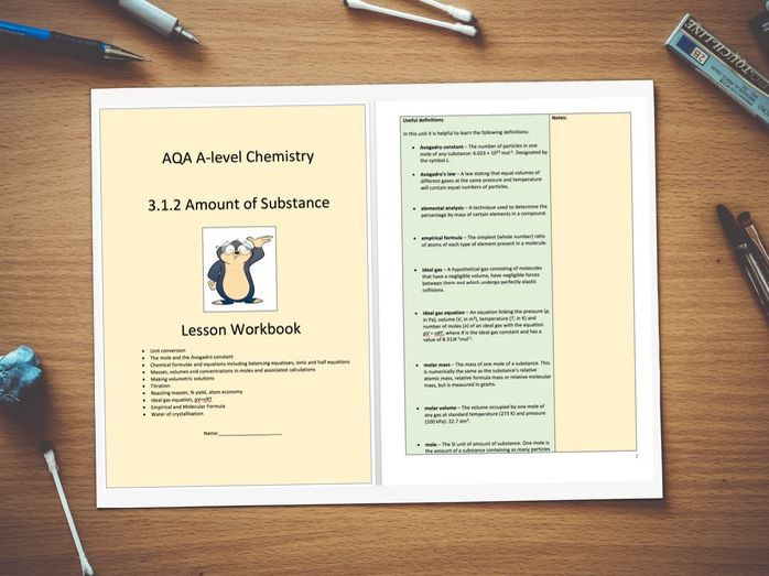 AQA A-level Chemistry 3.1.2 Amount of Substance - Unit Workbook and Notes with Answers