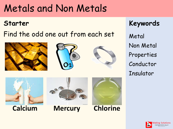 AQA Chapter 1 - Lesson 10 - Metals and Non Metals