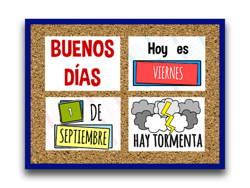 Saludos, fecha y tiempo en español - Expressions, date and weather in the assembly - 30 pages