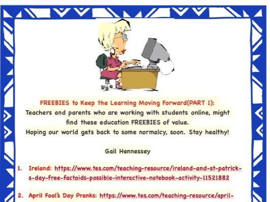Home Learning: Coronavirus -Distance Learning FREEBIES