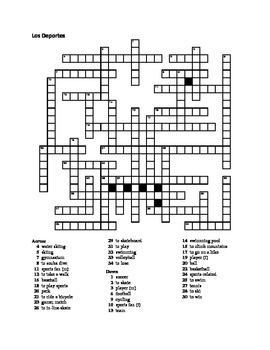 Deportes (Sports in Spanish) crossword 2