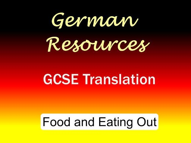 German GCSE - Exam Style Translation Tasks - Food and Eating Out
