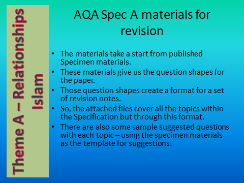 AQA GCSE (9-1) RS Spec A - Revision materials - Theme A Relationships and Families - Islam
