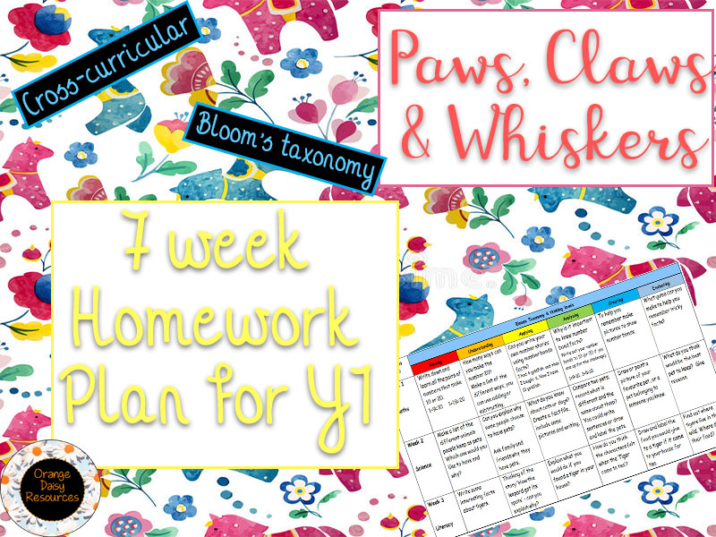 7 week Paws, Claws & Whiskers Homework Grid for Y1