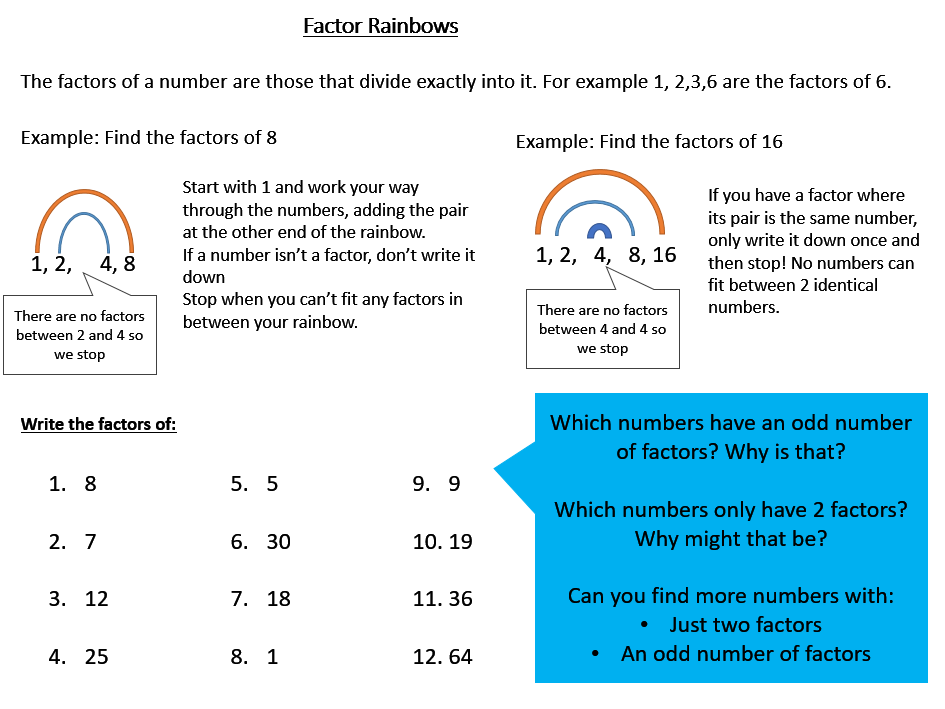Factor Rainbows Worksheet (Finding Factors) with Answers
