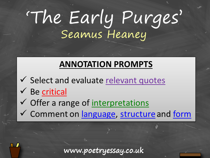 early purges seamus heaney essay Download this annotation here: annotation prompts for seamus.