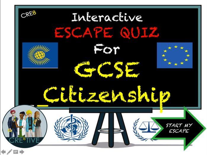 GCSE Citizenship End of Term Revision Escape Quiz