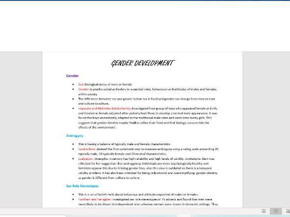 Psychology- Gender Development
