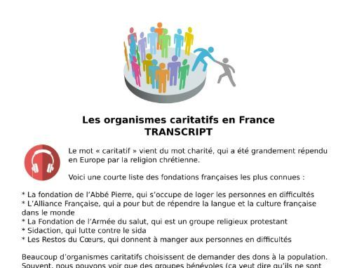 Charity French Listening MP3 & Transcript - Les Associations Caritatives and Voluntary Work