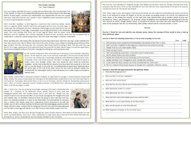 The Great Gatsby - A story by F. Scott Fitzgerald / Reading Comprehension Worksheet