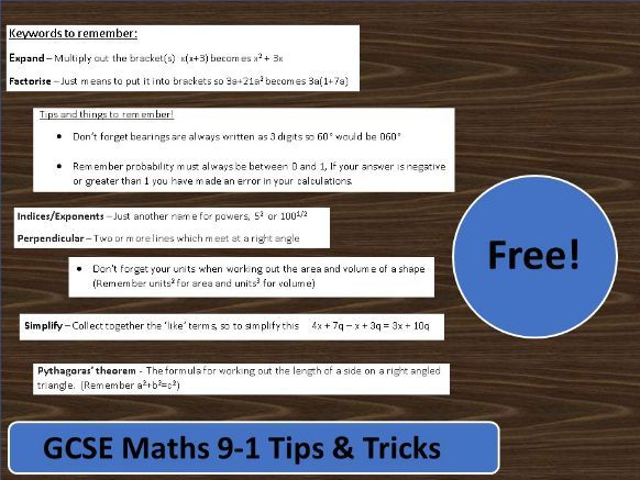 GCSE Maths 9-1 Keywords & Exam Tips And Tricks
