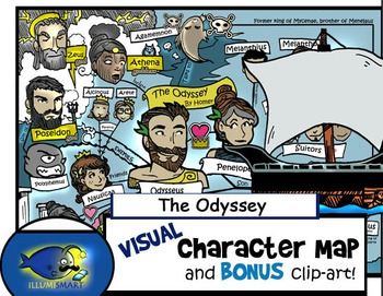 """The Odyssey"" Visual Character Map and BW Clip-Art Piece of Odyssey Ship!"