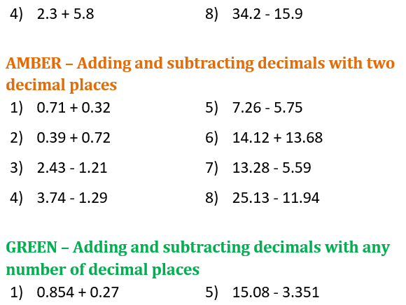 Adding and Subtracting Decimals Differentiated Worksheet