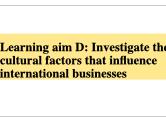 BTEC Business L3 Unit 5 International Business Learning Aim D - Cultural Factors