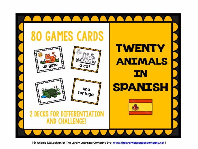 PRIMARY SPANISH - 80 ANIMALS GAMES CARDS & REFERENCE SHEET