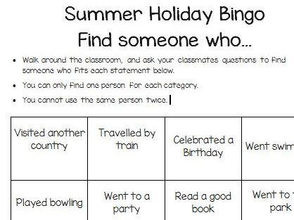 Summer Holiday Activity Bingo/Get to know/Find someone who