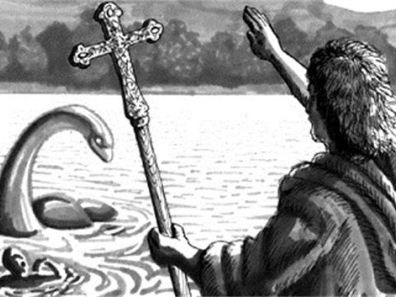 Saint Columba and the Loch Ness monster presentation and easy Latin translation cartoon