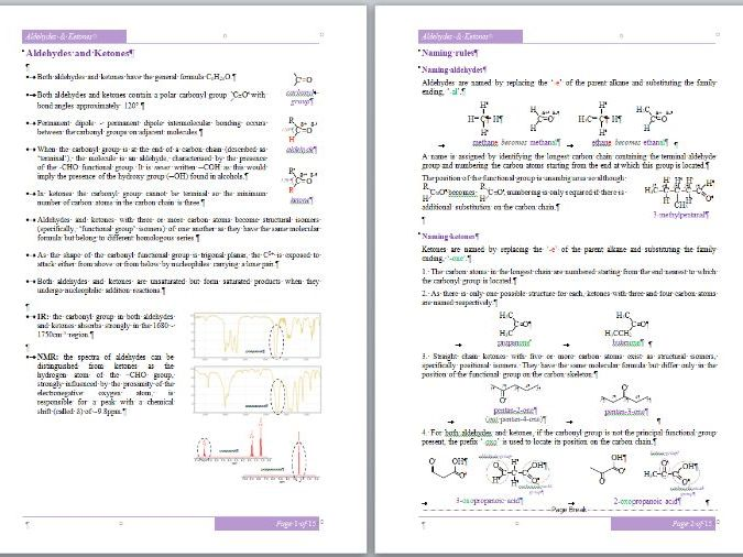 Aldehydes & Ketones Workbook - A-Level Chemistry