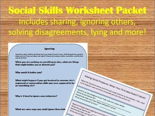 Social Skills Worksheet Packet - Part 1