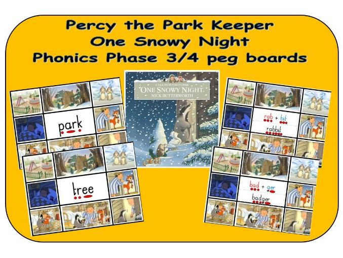 Percy the Park Keeper - One Snowy Night - Phonics phase 3/4 word peg boards