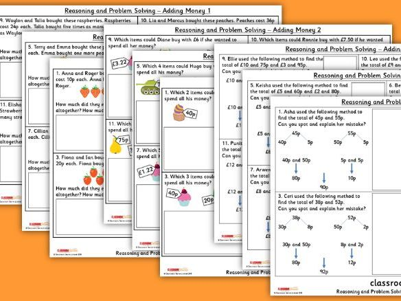 Adding Money WRM Year 3 Reasoning and Problem Solving Pack