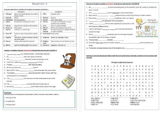 Phrasal Verbs Beginning with F: Worksheet / F- Phrasal Verbs