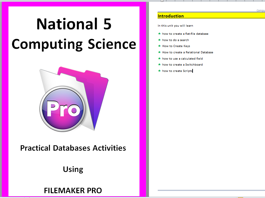 National 5 Computing Science Practical Database Unit using Filemaker Pro