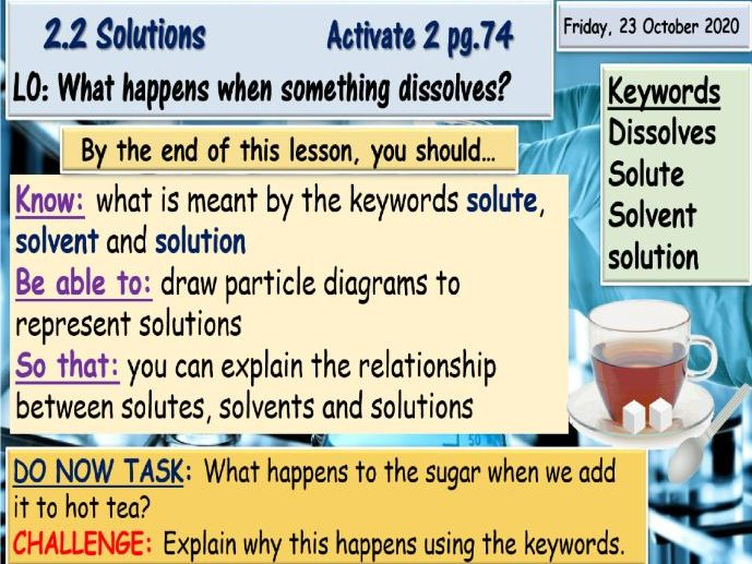 Solutions and Solubility Lessons KS3 Science