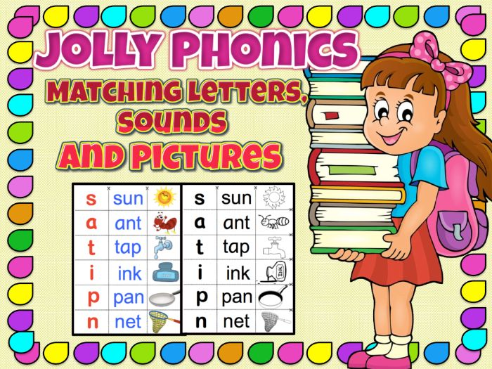 Matching letters, sounds and pictures that will complement Jolly Phonics Program