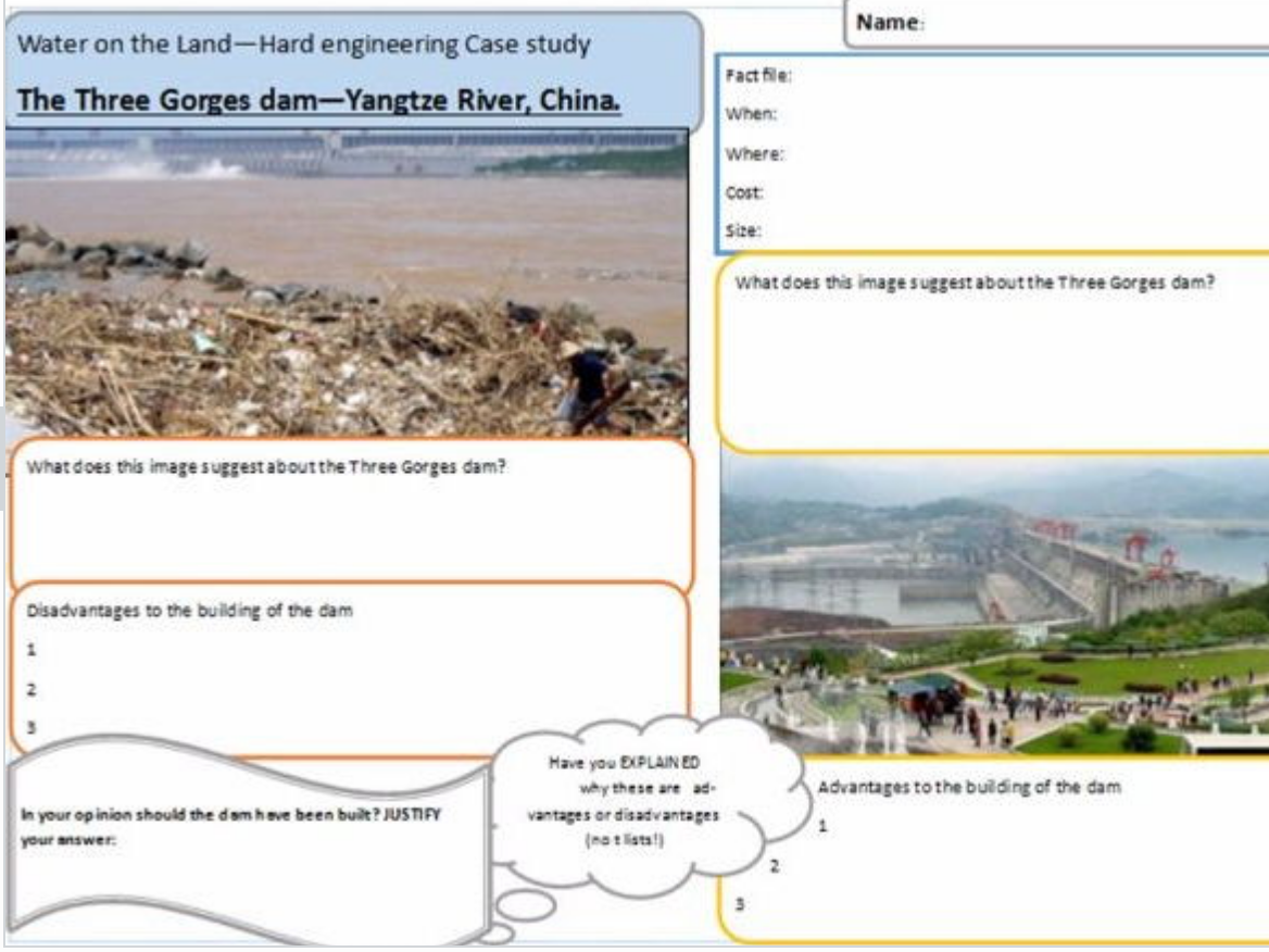Geography Case study revision Paper 1 and Paper 2 - notes and task sheets