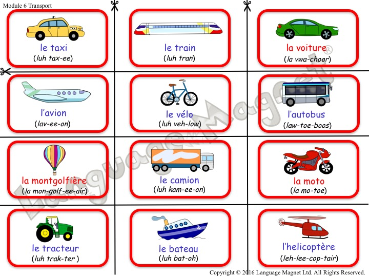 French Transport Bingo
