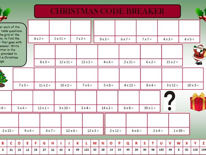 Christmas Time Tables Activities