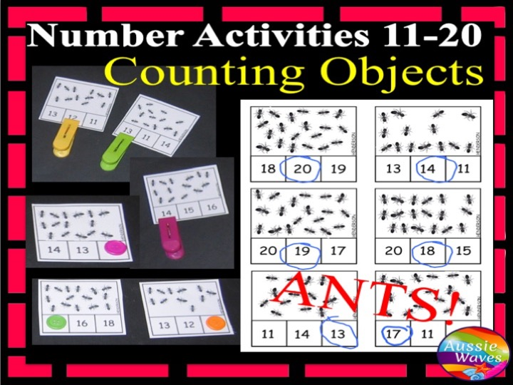 Kinder Maths Centre Activity Counting Numbers 11-20 count and Match Objects