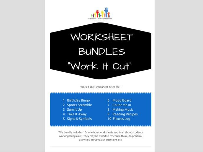 SPECIAL EDUCATION x10 WORK IT OUT worksheets - literacy, numeracy, thinking, skills worksheets