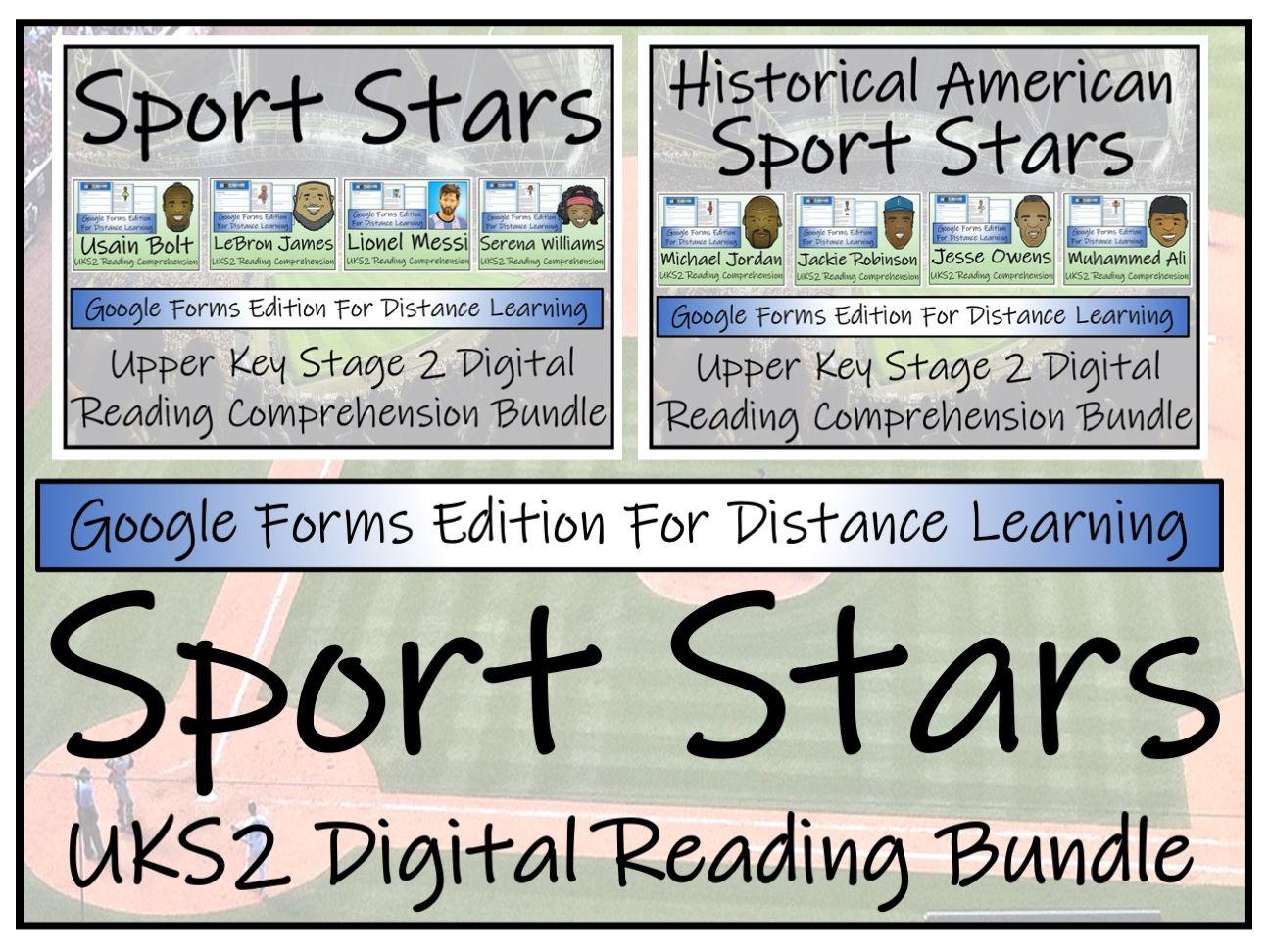 UKS2 Modern & Historical Sport Stars Reading Comprehension & Distance Learning Bundles