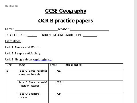 OCR B Exam Question Homework Booklet