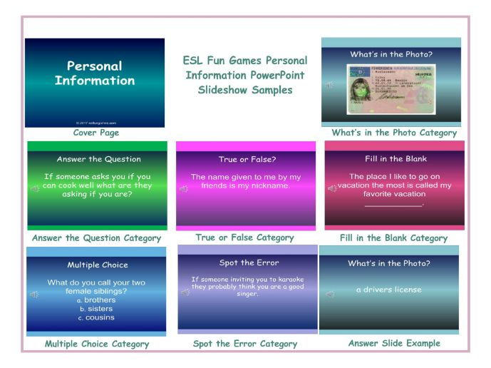Personal Information PowerPoint Slideshow