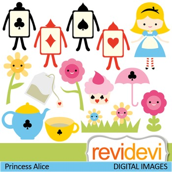 Clip art: Girl in Wonderland inspired (girl, tea party, playing cards)