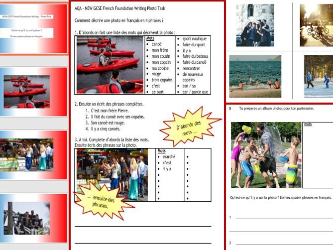 AQA French NEW GCSE: Foundation Writing photo task 11-page wk bk and activities; revision, cover...