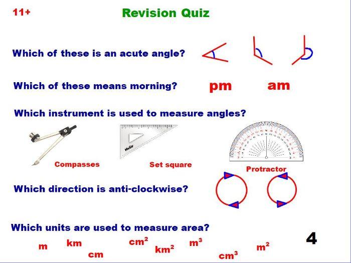 Mixed quiz of 11+ topics