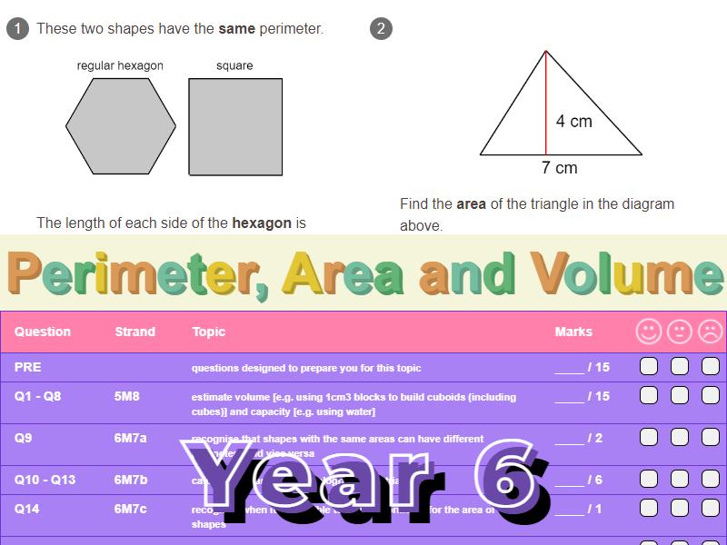 Perimeter, Area and Volume Worksheet + Answers (KS2 - Year 6)