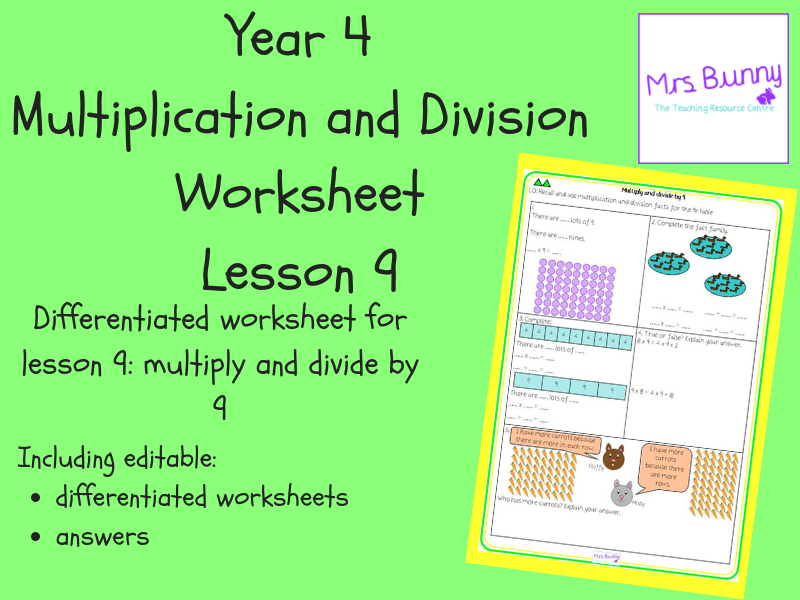 9. Multiplication and Division: multiply and divide by 9 worksheets (Y4)