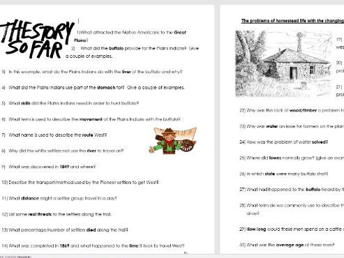 GCSE 1-9 American West: Question sheet for Ray Mears Episode 2 How the Wild West was Won.