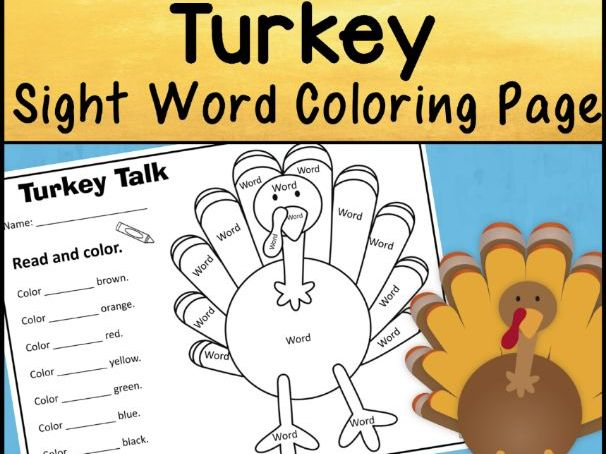 Turkey Sight Word Coloring Sheet Activity | Editable