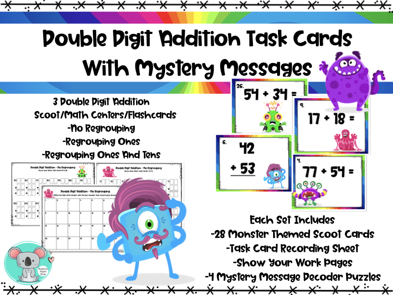 Double Digit Addition  Task Cards With Mystery Messages - Scoot/ Math Centers/Flashcards